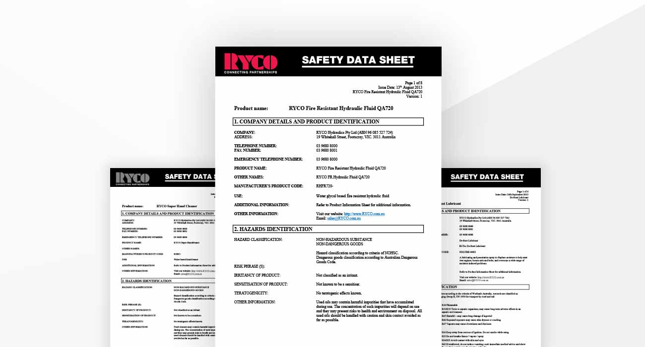Material Safety Datasheets - MSDS